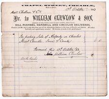 1883 Cheadle Chapel Street - William Clewlow Bill Poster & Handbills - Billhead