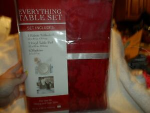 Everything Table set -red tablecloth, vinyl table pad, 6 napkins 60x84 oblong