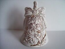 Large Christmas White & Gold Colored Seasons Greetings Ceramic Bell