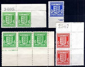 WW2 GERMAN OCCUPATION ISSUES: GUERNSEY 1941-4 MARGINAL MARKS MINT SELECTION (8)