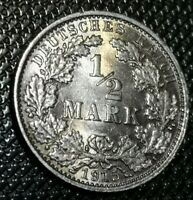 Germany Empire -- 1/2 Mark 1915E silver BU! UNC+++!