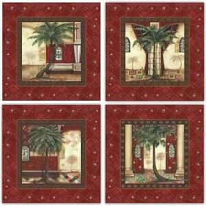 Red Palm Palace I-IV by Hawkins~Set 4 Moroccan Style Palm Tree 12x12 Art Prints