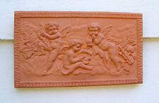 "14 1/2"" Terra Cotta Angel Wall Plaque Cherubs Wall Art Clay Garden Plaque"