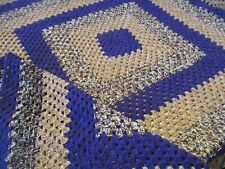 Vintage Style LARGE Granny Crocheted Blanket Purple/Browns Throw Hand Made NEW