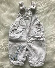 Next Baby Boys Cream Coloured Cord Dungarees Dinosaur Embroidery Size 0-3 Months