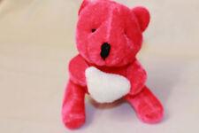 PINK PLUSH LITTLE TEDDY BEAR HOLDING A WHITE HEART THREE INCH HIGH