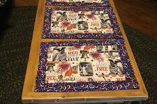 4 Placemats, 4th Of July, Memorial Day, USA, Quilted with 100 % cotton fabric