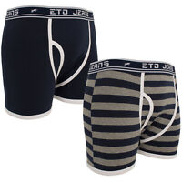 New Mens ETO Plain Printed Striped Stretch Boxer Shorts Underwear Briefs 2 PACK
