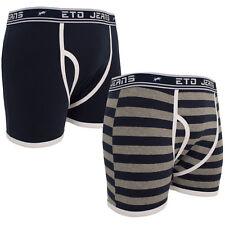 New Mens ETO Plain Printed Striped Stretch 2 Pack Boxers Shorts Underwear Briefs