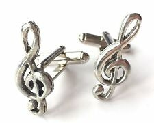 Treble Clef Music Note Hand Made Pewter Cufflinks (N276) Gift Boxed