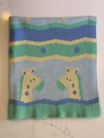 Carter's Child Of Mine Baby Blanket Giraffe Knit Green Blue Yellow Crib