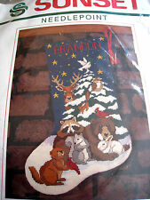"""Christmas Sunset Holiday Stocking Kit,FOREST FRIENDS,19004,Stouffer,Size 16"""""""