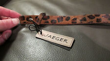 new genuine JAEGER leather BROWN BELT  LEOPARD PRINT