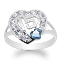 JamesJenny 10K White Gold 15 Anos Quinceanera Blue Topaz CZ Heart Ring Size 4-10