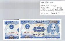 2 BILLETS VIETNAM - 5000 DONG 1991 - BILLETS CONSÉCUTIFS - NEUFS !!!