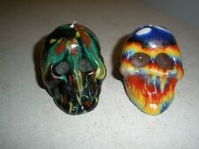 """Lot of 2 New Skull Tie Dye Candles Made by Moonlite 3"""" X 2"""" X 2"""""""