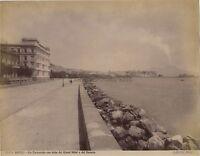 Napoli Via Caracciolo Italia Vintage Albumina Ca 1880