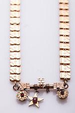 "Antique Victorian 1850s Garnet Etruscan 18"" WIDE LINK Engraved Necklace RARE"