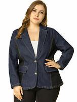 Women's Plus Size Denim Jacket Notched Lapel Color Block Stretch Blazer