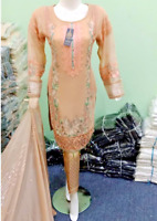 Designer embroidered Chiffon Stitched Suit  peach Pakistani Indian Party Wear