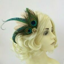 Beige Nude Green Gold Peacock Feather Fascinator Hair Clip 1920s Cocktail 0689