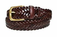 W796 - Women's Full Grain Woven Braided Cowhide Leather belt with brass buckle