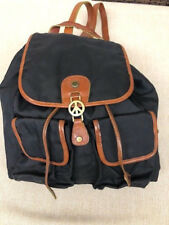 MOSCHINO VINTAGE BLACK  BACKPACK SYNTHETIC NYLON WITH BROWN LEATHER TRIM DETAILS