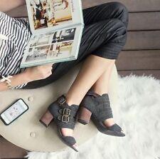 JZ1 Joyfolie Guillianna 7 7.5 Womens NEW NIB Charcoal Buckle Tweed Sandals Shoes