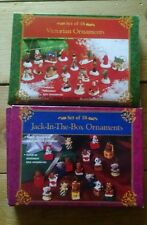 """NEW SET OF 18 JACK-IN-THE-BOX and 18 VICTORIAN MINI CHRISTMAS ORNAMENTS LOT 3/4"""""""