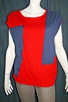 JACQUELINE RIU Taille 38 - 40 Superbe gilet femme rouge et bleu marine pull