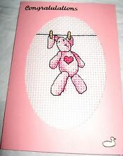 New Baby Girl Card Completed Cross Stitch Rabbit on a Washing Line 6x4""