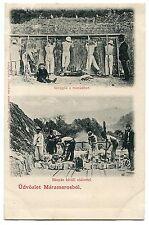Romania Maramures Sighetul Marmatiei 1900s Surface mining salt,miners animated R