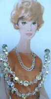 """Mothers Day Vintage Gift Jewellery Necklace Crystal Sparkle Beads Two Strand 14"""""""