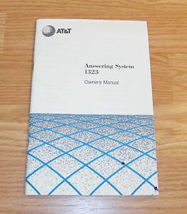 Genuine AT&T Answering System (1323) Owner's Manual Paperback Handbook- *READ*