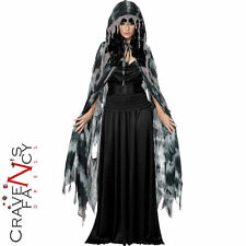 Ladies Gothic Hooded Cape Halloween Old Witch Fancy Dress Costume