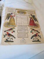 """Antique Fractur Document Penn Dutch Hand Colored Birds Angels 1829 16"""" X 13"""""""