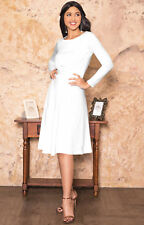 Womens Long Sleeve Semi Formal Flowy Party Casual Work Knee Length Midi Dresses