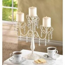 "large 15"" tall ivory white chandelier CANDELABRA Candle holder table centerpiece"