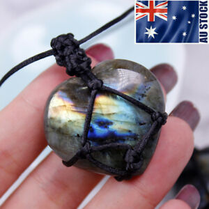 Natural Labradorite Moonstone Heart Shape Pendant Polished Quartz Wrap Necklace