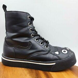 T.U.K. Cat Kitten Black Platform Creeper Ankle Boot Sneakers Women's 5 *FLAW*
