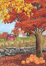 #139 AUTUMN DAY FALL PUMPKIN FARM LEAVES HOUSE FLAG 28X40 BANNER