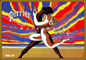 Perrier Rainbow C'est Fou French Vintage Poster Print Retro Wall Decoration