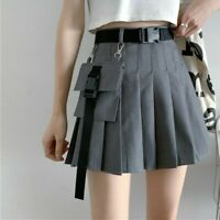 Punk Women Girl Cargo Skirts Vintage Pocket Pleated Japanese Gothic Frill Black