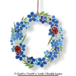 FORGET-ME-NOT & LADYBIRD WREATH HANGING Gisela Graham Floral Hanger Flower Décor