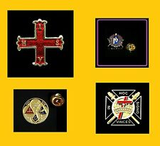 Lot of 4 TOP Quality KNIGHTS TEMPLAR Masonic Lapel Pin Freemason Tie Tack Hat