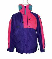 Vtg Columbia Womens M Criterion Radial Nylon Windbreaker Jacket Neon Pink Retro