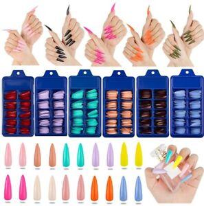 100Pcs False Nail Tips Matte Full Cover Long Stiletto Fake Nails Art Manicure UK