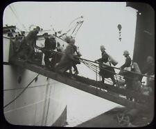 Glass Magic Lantern Slide AMBULANCE CORPS BOARDING SHIP 1900 PHOTO BOER WAR