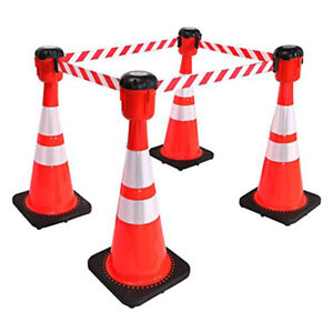 (1)Traffic Cone Topper Retractable Barrier Belt-30 Foot belt -Fast Free Shipping