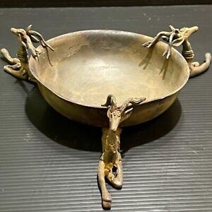 Wonderful Unique Ancient Roman Wonderful Bronze Excellent 3 Ram Bowl